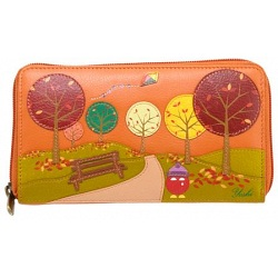 Yoshi Bridgette Autumn Scene Limited Edition Leather Purse with Coin Pocket