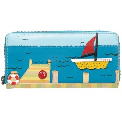Yoshi Limited Edition Boat Applique Leather Purse with Coin Pocket