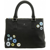 Yoshi Button Applique Leather Grab Bag / Handbag