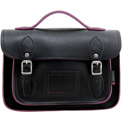 Yoshi Dewhurst Black / Purple Leather Satchel / Small Work Bag