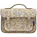 Yoshi Dewhurst Satchel / Small Leather Work Bag (Cream Floral)
