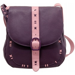 Yoshi Eliza Leather Across Body Bag / Handbag (Plum)