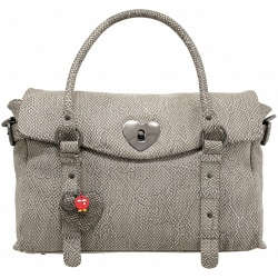 Yoshi Farley Heart Lock Leather Tote Bag / Shoulder Bag (Grey Python)