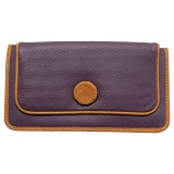 Yoshi Florence Leather Flapover Purse with Woven Button Detail