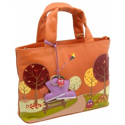 Yoshi Hampton Limited Edition Autumn Scene Leather Grab Bag / Handbag