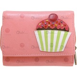 Yoshi Cupcake Applique Flap Over Leather Purse with Zip Coin Section