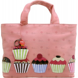Yoshi Hampton Cupcake Applique Leather Grab Bag / Handbag