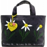 Yoshi Hampton Daisy He Loves Me Applique Leather Grab Bag / Handbag
