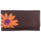 Yoshi Mabelle Flower Applique Large Flap Over Leather Purse