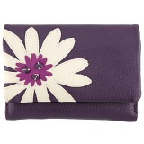 Yoshi Marissa Flower Applique Medium Flap Over Leather Purse
