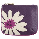 Yoshi Marissa Flower Applique Leather Zip Top Coin Purse