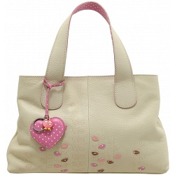 Yoshi Marnie Leaf Applique Leather Grab Bag / Handbag (Cream)