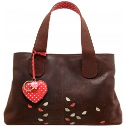 Yoshi Marnie Leaf Applique Leather Grab Bag / Handbag (Brown)