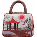 Yoshi Osaka Japan Applique Leather Grab Bag / Handbag