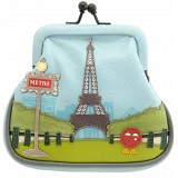 Yoshi Paris Tour Eiffel Tower Leather Clip Top Frame Coin Purse