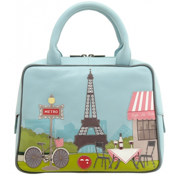 Yoshi Paris Tour Eiffel Tower Applique Leather Grab Bag
