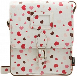 Yoshi Rushmore Heart Print Across Body Leather Satchel