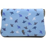 Yoshi Suzy Leather Clutch Bag with Detachable Shoulder Strap (Navy Print)