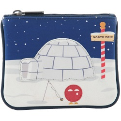 Yoshi Its Cold Outside Applique Leather Zip Top Coin Purse