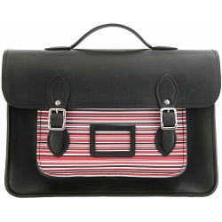 Yoshi Bixby Large Leather Satchel / Work Bag with Red Stripe Print