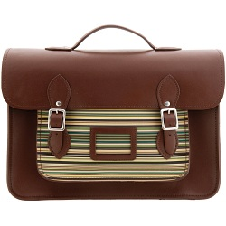 Yoshi Bixby Large Leather Satchel / Work Bag with Green Stripe Print