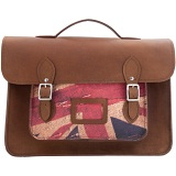 Yoshi Bixby Large Leather Satchel / Work Bag with Union Jack Print