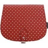 Yoshi Topher Leather Cartridge Satchel with Red Polka Dots Print