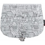 Yoshi Topher Leather Cartridge Satchel with Houses Print