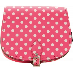 Yoshi Topher Leather Cartridge Satchel with Pink Polka Dots Print