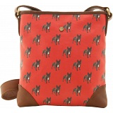 Yoshi Garner Canvas Across Body Bag with Leather Trim (Dog Print)