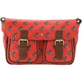 Yoshi Monaghan Canvas Satchel with Leather Trim (Dog Print)