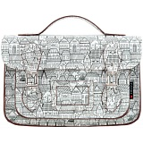 Yoshi Dewhurst House Print Leather Satchel / Small Work Bag
