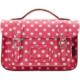Yoshi Dewhurst Pink Polka Dot Print Leather Satchel / Small Work Bag