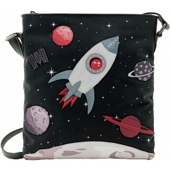Yoshi Fly Me To The Moon Applique Leather Across Body Bag