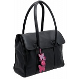 Yoshi Bloomsbury Butterfly Charm Shoulder / Tote Flap Over Leather Handbag