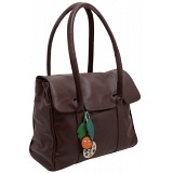 Yoshi Bloomsbury Leaf Charm Shoulder / Tote Flap Over Leather Handbag