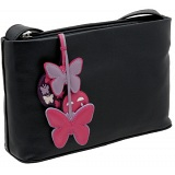Yoshi Brompton Butterfly Charm Shoulder Bag / Leather Handbag