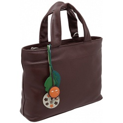 Yoshi Hampton Leaf Charm Medium Grab Bag / Leather Handbag