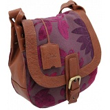 Yoshi Hutton Hand Woven Tapestry Flap Over Shoulder Bag / Leather Handbag