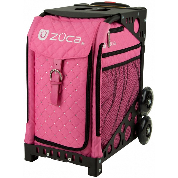 Zuca Sport Hot Pink Quilted Sit On Rolling Kit Bag Frame